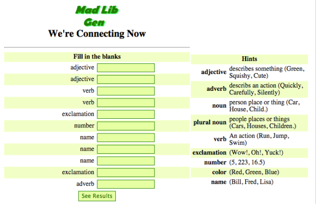 Daily Connect Mad Lib